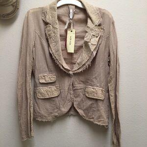 MUR MUR - NWT Boho Cotton Tan Khaki Blazer Jacket